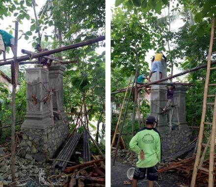 Warga Ngenep RT 04 Membangun Gapura Pembatas Desa