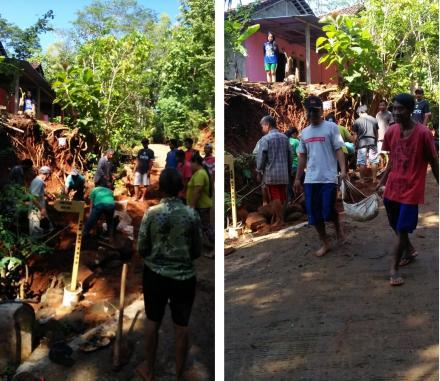 Kerja Bakti Pengerukan Sisa Tanah Longsor di Pedukuhan Pancuran
