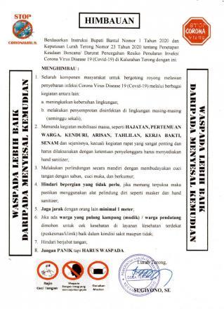 Himbauan terkait Wabah Virus Corona